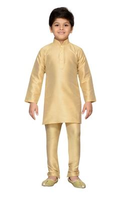 Beige plain raw silk boys-kurta-pyjama