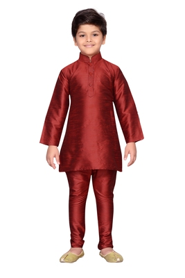 Maroon plain raw silk boys-kurta-pyjama