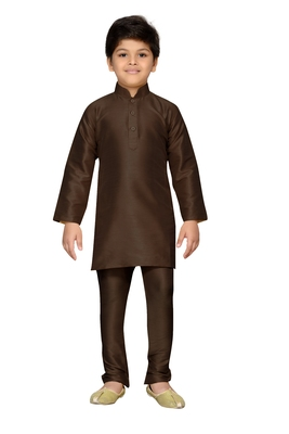 Brown plain raw silk boys-kurta-pyjama