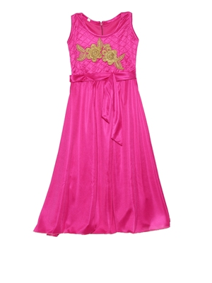 Pink embroidered polyester kids-girl-gowns