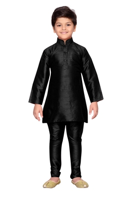 Black plain raw silk boys-kurta-pyjama