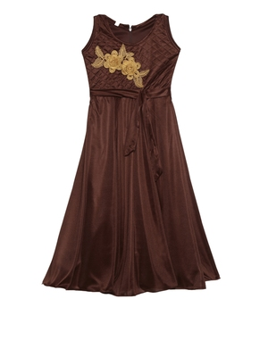 Brown embroidered polyester kids-girl-gowns
