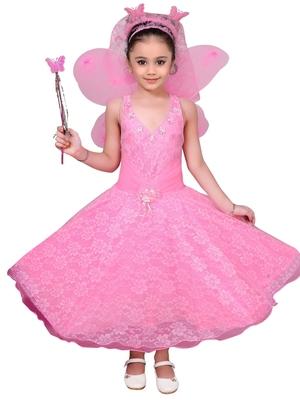 Pink woven net kids-girl-gowns