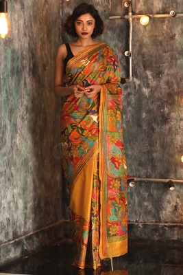 Yellow hand woven bangalore silk handloom saree with blouse