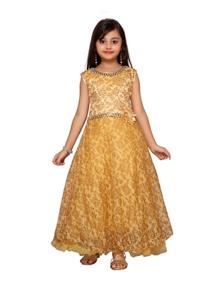 Fawn printed net kids-girl-gowns