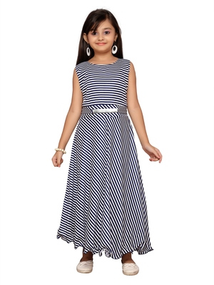 Blue printed cotton knitted kids-girl-gowns