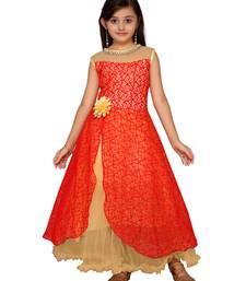 Red plain net kids-girl-gowns