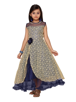 Fawn plain net kids-girl-gowns