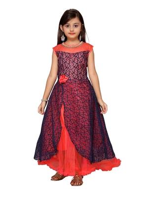 Blue plain net kids-girl-gowns