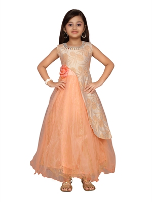 Orange woven net kids-girl-gowns