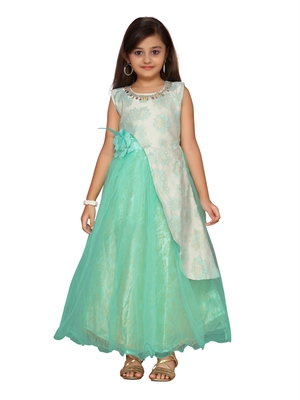 Green woven net kids-girl-gowns