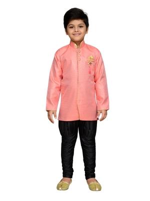 Pink woven satin boys-sherwani