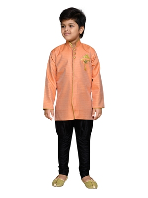 Orange woven satin boys-sherwani