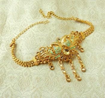 Lalso Designer Golden Mint Meenakari Peacock Kundan Adjustable Bajuband Armlet Jewelry - LMBB01_LCT
