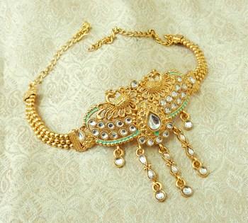 Lalso Designer White Mint Meenakari Peacock Kundan Adjustable Bajuband Armlet Jewelry - LMBB03_WT