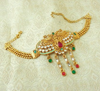 Lalso Designer Multicolor Mint Meenakari Peacock Kundan Adjustable Bajuband Armlet Jewelry - LMBB03_MG