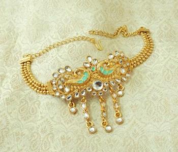 Lalso Designer White Mint Meenakari Peacock Kundan Adjustable Bajuband Armlet Jewelry - LMBB04_WT