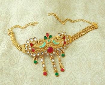 Lalso Designer Multicolor Mint Meenakari Peacock Kundan Adjustable Bajuband Armlet Jewelry - LMBB04_MG