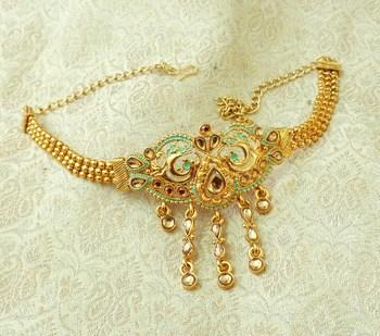 Lalso Designer Golden Mint Meenakari Peacock Kundan Adjustable Bajuband Armlet Jewelry - LMBB05_LCT