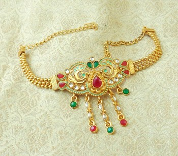 Lalso Designer Multicolor Mint Meenakari Peacock Kundan Adjustable Bajuband Armlet Jewelry - LMBB05_MG