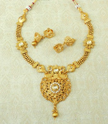 5a819da7a87e9 Lalso beautiful white kundan gold plated brass ball chain short necklace  sets - lbcn06