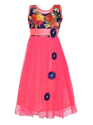 Pink printed net kids-girl-gowns