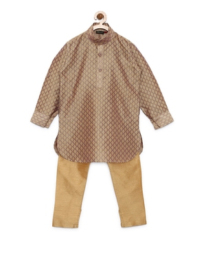 Fawn woven cotton poly boys-kurta-pyjama