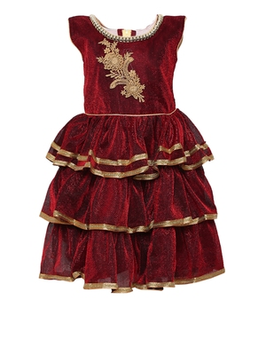 Red embroidered shimmer kids-frocks