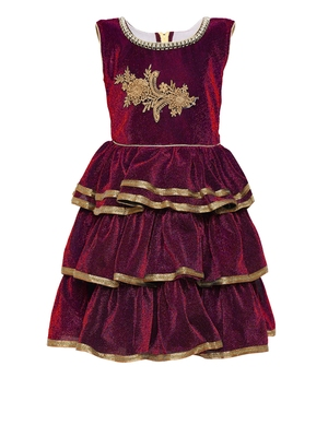 Maroon embroidered shimmer kids-frocks