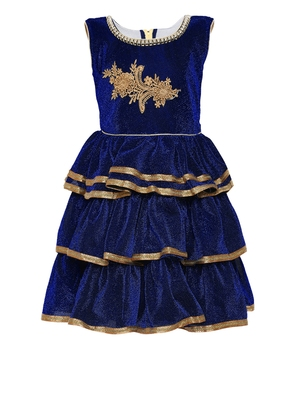 Blue embroidered shimmer kids-girl-gowns