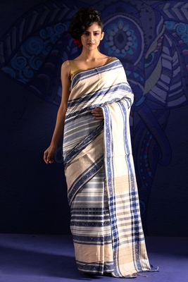 20771711bd Off white hand woven tusser khadi silk handloom saree with blouse ...