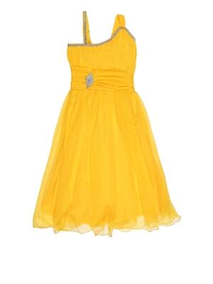 Yellow plain net kids-frocks