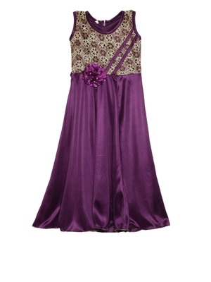 Purple plain polyester kids-girl-gowns