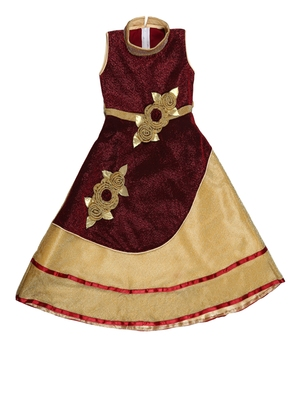 Maroon embroidered shimmer kids-girl-gowns