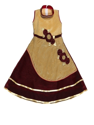 Fawn embroidered shimmer kids-girl-gowns