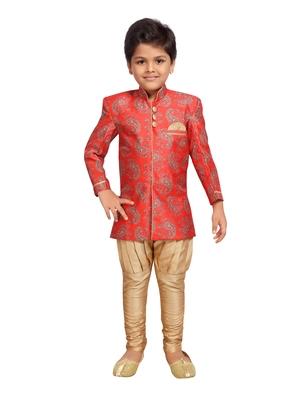 Red printed silk blend boys-sherwani