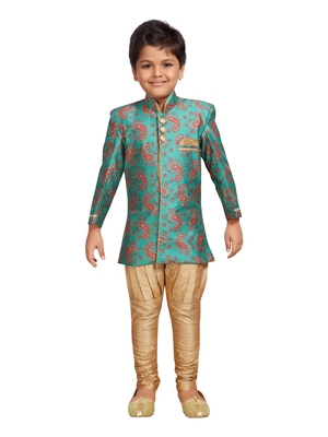 Green printed silk blend boys-sherwani