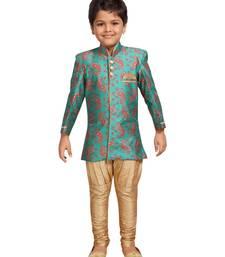 Green printed silk blend boys-sherwani