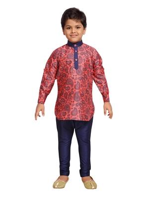 Pink printed cotton poly boys-kurta-pyjama