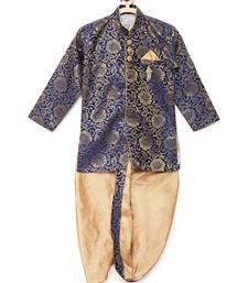 Blue woven brocade boys-dhoti-kurta