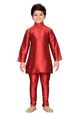 Red plain raw silk boys-kurta-pyjama