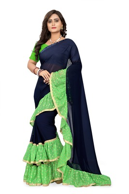 Green Plain Georgette Ruffle Saree With Blouse