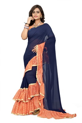 Orange plain georgette ruffle saree with blouse