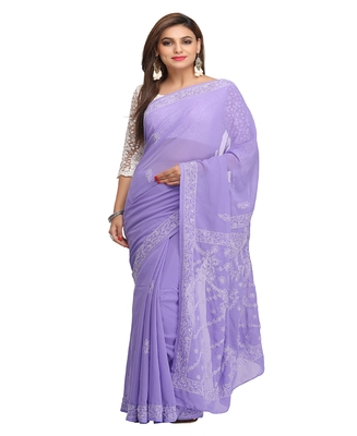 Purple Embroidered Faux Georgette Saree With Blouse