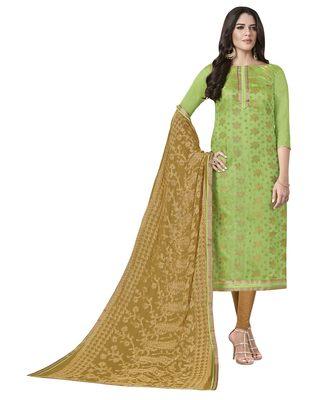 7e7aeb97dd Green banarasi jacquard salwar with dupatta - MANVAA - 2830233