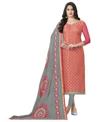 Pink banarasi jacquard salwar with dupatta