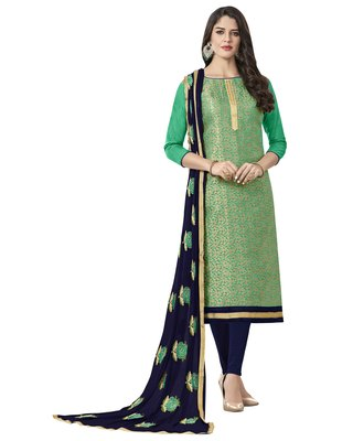 Green banarasi jacquard salwar with dupatta