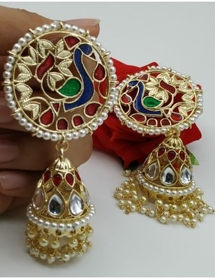 ELEGANT ETHNIC PEACOCK DESIGN GOLD PLATED DANGLER EARRING