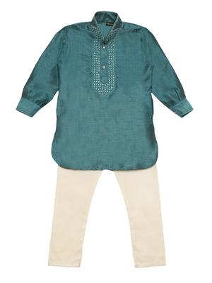 Green plain cotton poly boys-kurta-pyjama