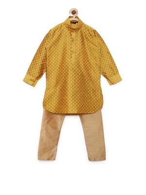 Yellow woven cotton poly boys-kurta-pyjama